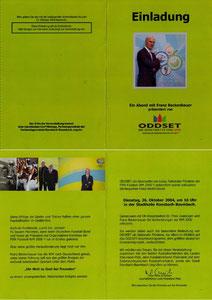 Beckenbauer, 2004, Oddset 'Ein Abend in Ransbach-Baumbach', Einladungs-Klappkarte, Dank an SF Norbert