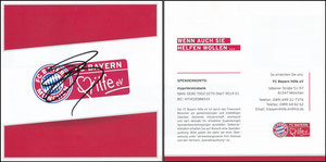 FC Bayern Hilfe e.V., 2016, Flyer, signiert Badstuber im Sept. 2016