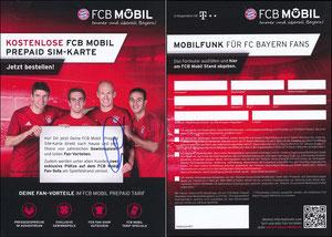 Bayern München, 2016, FCB Mobil, PrePaid-Karte, 'Gewinn Fan-Sofa', sign. Thiago am 22.11.2019 vor dem Abflug zum Düsseldorf-Spiel