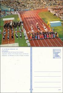 Postkarte, 1972, Olympiastadion München, 'Eröffnungsfeier', Azet-Karte