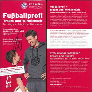 Bayern Erlebniswelt, 2016, 'Fußballprofi, Traum und Wirklichkeit', Flyer 'Den FC Bayern erleben...' zur Mitgliedskarte, signiert Müller im Aug. 2018