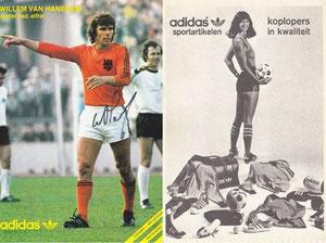 Beckenbauer, 1974, Adidas, mit Willem van Hanegem, Niederlande, Rückseite BEDRUCKT, Dank an SF Norbert
