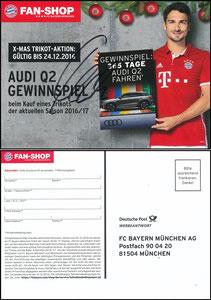FanShop, 2016, Hummels 'Audi Q2-Gewinnspiel', signiert Hummels im Febr. 2019