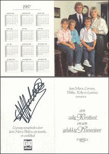 Pfaff, 1987, belgische Privatkarte 'Kalender', Klappkarte
