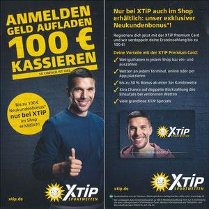 Podolski, 2018, XTip 'Anmelden - Geld aufladen - 100€ kassieren', Variante 2