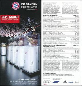 Bayern Erlebniswelt, 2014, 'Sepp Maier - Torwart, Tüftler, Tausendsassa', Flyer