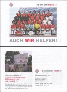 Bayern München, FC Bayern Hilfe e.V., 2005,   Mannschaftskarte, Flyer mit Spende