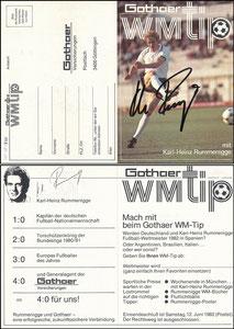 Rummenigge, 1982, Gothaer 'WM-Tipp', Klappkarte