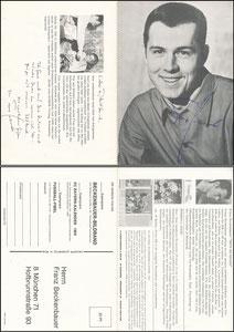 Beckenbauer, 1968, Komar Klappkarte ('11,80 DM')