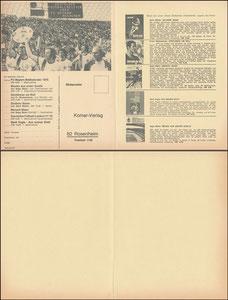 Mannschaftskarte 1974, Komar, Klappkarte