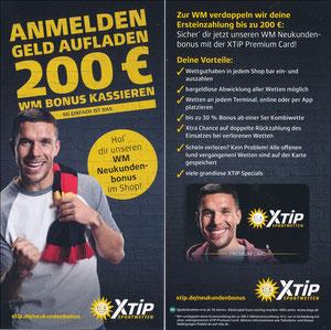 Podolski, 2018, XTip 'Anmelden - Geld aufladen -200€ WM Bonus kassieren'
