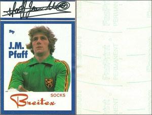 Pfaff, 1970er, Breitex Socks (bei SK Beveren), Aufkleber, Dank an SF Michael