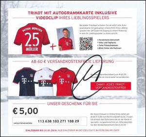 FanShop, 2015, Gutschein 'Trikot-Karten', Müller, signiert Müller im März 2019