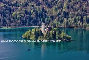 Bled, Bleder See, Insel mit Kirche (Fotodesign-Wunderlich)