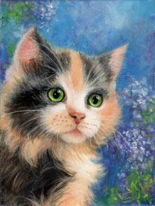 Katze auf blau, 18 x 24 cm, Acryl auf Keilrahmen, Original 43 €.