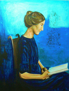 "Acryl Painting 80 x 100 cm ""Emmanuelle reading"""