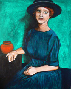 "Acryl Painting 80 x 100 cm ""Redhead"""