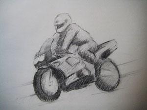 ... en la moto y el cuerpo del sujeto carbon vegetal y lapiz carbon 2b