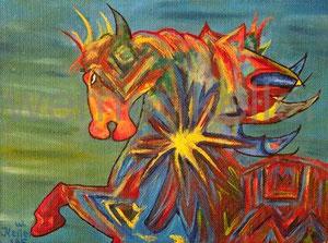 abstraktes Pferd - Original: Öl auf Hartfaser, 30x40 cm