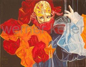 Venezianische Maske - Original: Öl auf Hartfaser, 50x40 cm, 950 €  • Druck auf Leinwand: 90 €