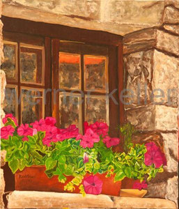 Blumenfenster - Original: Öl auf Leinwand, 70x80 cm, 1.900 € • Druck auf Leinwand : 190 €