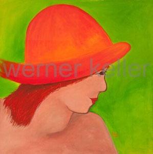roter Hut - Original: Öl auf Leinwand, 80x80 cm