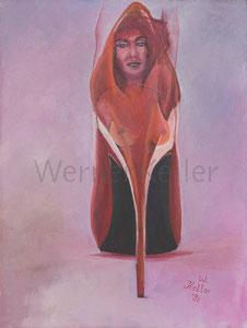 Frau im Schuh - Original: Öl auf Leinwand, 30x40cm,  unverkäuflich • Druck auf Leinwand : 90 €