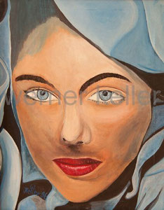 blaues Cape - Original: Öl auf Leinwand, 56x70 cm