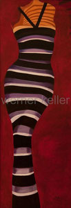 gestreifte Frau - Original: Öl auf Hartfaser, 60x160 cm, 2.400 € • Druck auf Leinwand : 240 €