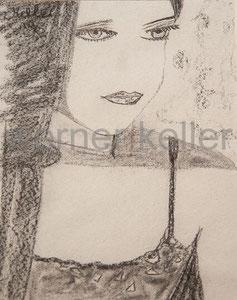 face II - Original: Kohle auf Tapete, 40x50 cm