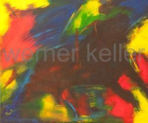 Chaos-Stier - Original: Acryl auf Leinwand, 120x100 cm, 1.800 € • Druck auf Leinwand : 220 €