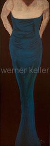 blaues Kleid - Original: Öl auf Hartfaser, 35x100 cm