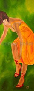 gelbes Kleid - Original: Öl auf Hartfaser, 48x126 cm