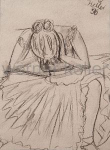 Ballerina I - Original: Kohle auf Tapete, 40x50 cm, 350 € • Druck auf Leinwand : 90 €