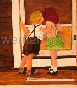 Kinder an der Tür - Original: Öl auf Leinwand, 70x80 cm