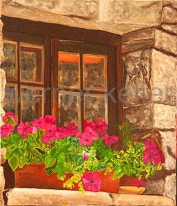 Blumenfenster - Original: Öl auf Leinwand, 70x80 cm