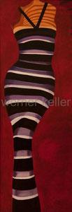 gestreifte Frau - Original: Öl auf Hartfaser, 60x160 cm