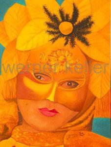 Goldmaske - Original: Öl auf Leinwand, 60x80 cm, unverkäuflich