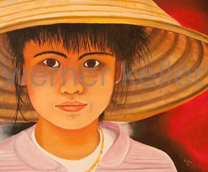 Chinese child - Original: Öl auf Leinwand, 120x100 cm, 3.500 € • Druck auf Leinwand : 220 €