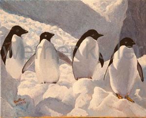 Pinguine - Original: Öl auf Leinwand, 60x50 cm