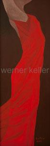 rotes Kleid - Original: Öl auf Hartfaser, 35x100 cm