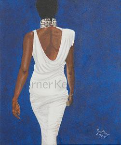 weißes Kleid - Original: Öl auf Leinwand, 50x60cm, unverkäuflich