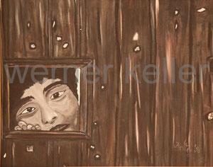 Zaunkind - Original: Öl auf Leinwand, 60x50 cm, 600 €  • Druck auf Leinwand: 100 €