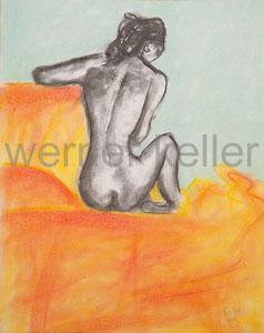 Rückenansicht - Original: Kreide auf Papier, 40x50 cm, 350 €  • Druck auf Leinwand: 90 €