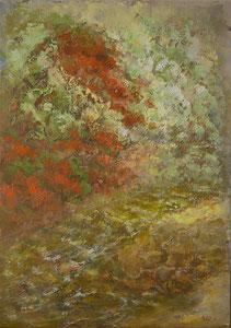 Wald , Fluss, 50x70cm Öl auf Leinen