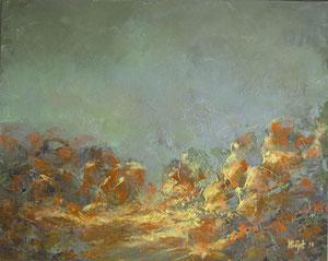 Steine im Nebel, 40x50cm Öl auf Leinwand