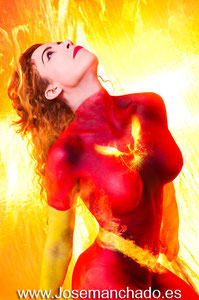 bodypaint madrid, bodypaint phoenix, bodypaint x-men, bodypaint x-men girls, bodypaint patrulla x, bodypaint superheroe, bodypaint superheroine, bodypaint fire