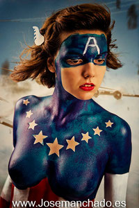 bodypaint marvel, bodypaint captain america, bodypaint capitan america, bodypaint advengers, bodypaint geek, bodypaint Madrid, bodypainting Madrid, artista bodypaint