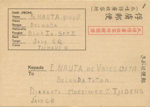Briefkaart verstuurd door Sikke Nauta op 28-8-45  vanuit het kamp Tjimahi 4 aan  Egberdina Nauta - de Vries in kamp Tjideng.
