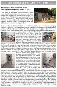 Bericht von Therese Serena, Lesegesellschaft Ramsen